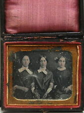 Fine Daguerreotype (1/6 plate) of 3 Sisters with Gold Pins