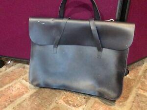 Black leather sheet music case/bag/document briefcase