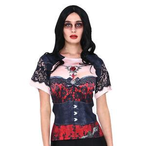 Halloween Day of the Dead Undead Costume WOMENS 3D Corset T-SHIRT Vampiress