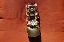 VINTAGE COW BELL WITH LEATHER COLLAR STRAP AND MULTI COLORED FRINGE