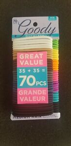 Goody Ouchless Hair Ties Bands 70pc No Metal Hair Elastics Assorted Colors New