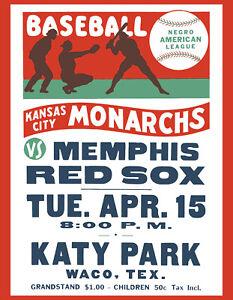"""KC Monarchs Vs. Memphis Red Sox Negro League Art Poster - 8"""" x 10"""" Photo"""
