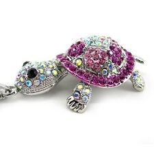 Super Lovely Pink Big Tortoise Turtle Animal Czech Crystal Necklace