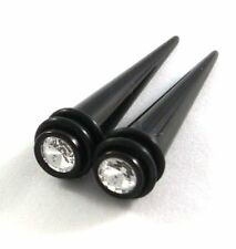 Magnetic Black White Fake Cheater Ear Tapers Earrings with CZ gems Look 2G 6mm