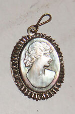VINTAGE ANTIQUE 800 SILVER MOTHER OF PEARL CARVED CAMEO MOP PENDANT VICTORIAN