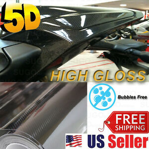 "Premium 5D High Glossy Black Carbon Fiber Vinyl Wrap Film Sheet Decal 36""x5FT"