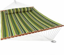 Quilted Fabric Hammock Two Person with Spreader Bars Heavy Duty 450 Pound