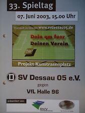 Programm 2002/03 SV Dessau 05 - VfL Halle 96