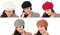 RJM Ladies Wool Mix Silver Studded Beret Hat