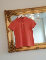 Women's LACOSTE Polo Shirt TOP Short Sleeve Stretch Cotton Piqué size 40 in VGC