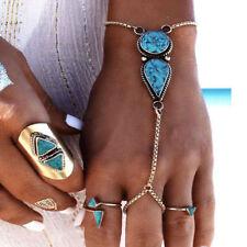 Boho Retro Lady Turquoise Slave Chain Ring Bracelet Hand Harness Jewelry Fashion