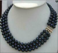 """Triple strands AAA natural south sea 8-9MM black pearl necklace 18"""" 14K Clasp"""