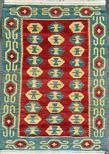 BEAUTIFUL TURKISH RUG, HANDMADE CAUCASIAN FLATWEAVE CARPET (4FT X 3FT) KILIM