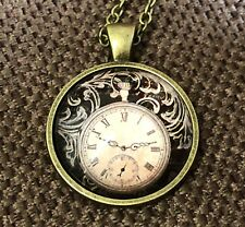 "Steampunk pic of a clock in glass necklace 22"" chain Antique brass tone gift #13"