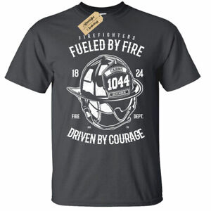 Firefighters T-Shirt Mens fueled by fire top gift tee