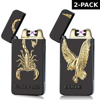 2 PACK USB Electric Dual Arc Flameless Rechargeable Windproof 3D Metal Lighter
