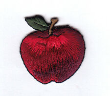 RED APPLE - FRUIT - FOOD -  APPLES - Iron On Embroidered Applique Patch