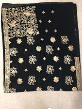 Women Diwali Designer Sequin Saree with Stitched Blouse Dull tikki Sari Black