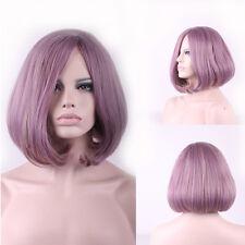 Women Purple Pink Short Wig Straight Short Hair Wig Cosplay Wig Short Bob Wig