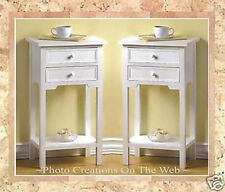2X NEW! ELEGANT WHITE WOOD END-SIDE TABLES,NIGHT STANDS,HOME,BATH,DECOR REG.$249
