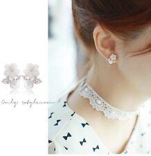 Sterling Silver Pearl Sea Shell Daisy Cubic zirconia Stud Earrings Gift Box S11