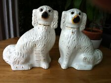 Antique Staffordshire 19th c Pair Gilt & White Wally Dog Spaniels, Glass Eyes