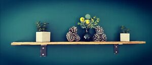 Slimline Reclaimed Pallet Wood Shelf & Black Steel Brackets, Rustic, Industrial.