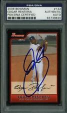 Braves Edgar Renteria Authentic Signed Card 2006 Bowman #122 PSA/DNA Slabbed