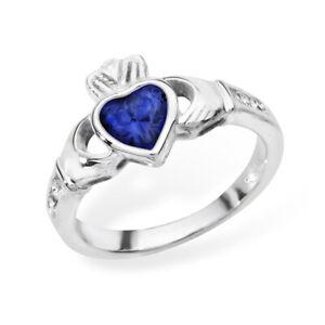 Irish Claddagh Ring Sterling Silver Sapphire Celtic Friendship Love 925 hallmark