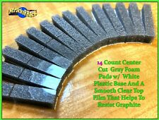 14 count Clear Top Charcoal Gray Foam Pads White Plastic Base for 8-track tape