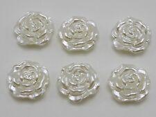 100 Ivory Acrylic Pearl FlatBack Rose Flower Cabochons 12mm Scrapbook Craft