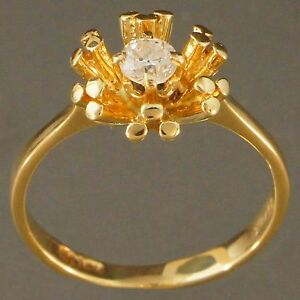Solid 14K Yellow Gold & .16 ct. Old European Cut Diamond, Firework Motif Ring