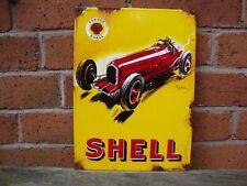 Shell Race Car Enamel sign aged vitreous garage oil petrol MEDIUM VAC199AGED