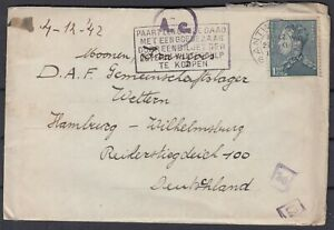 Belgium 1942 WWII ☀ Antwerp to Hamburg ☀ Censored cover with a letter - see scan