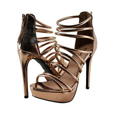 Women's Shoes Qupid Avalon 227 Strappy Caged Heel Rose Gold *New*