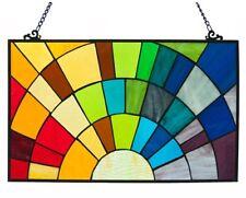 "Colorful Rainbow Suncatcher Window Panel, Stained Glass Tiffany-style, 20"" x 12"""