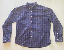 Rugby University Flannel Mens Blue Pink Plaid Long Sleeve Shirt Stretch Sz XL