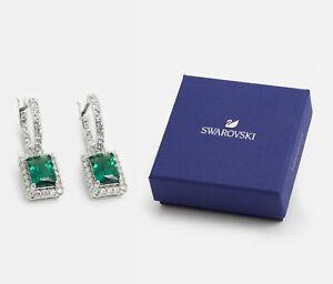 New in Gift Box SWAROVSKI Brand 5559834 Rhodium Green Gemstone Angelic Earrings