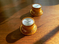 Gold skirted Top Hat tone & volume knob pair for Epiphone SG Custom guitar