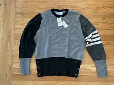 NWT Thom Browne Men Cashmere Tonal Sweater - Grey/Black/White - Size: 3/Large