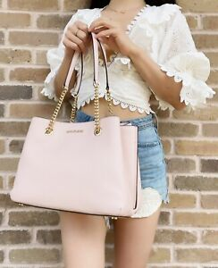 Michael Kors Teagen Large Jet Set Chain Tote Powder Blush Pink Pebbled Leather