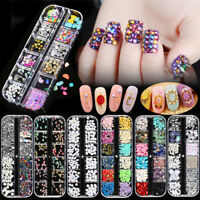 3D Glitters Nail Art Rhinestones Beads Acrylic Sequins Tips Manicure Decoration