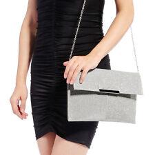 Womens Ladies Glitter Shimmer Handbag Envelope Clutch Shoulder Bag For Prom Fair