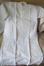 Men's Kurta--White Cotton -Embroidered  Punjabi --White
