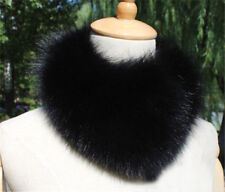 Real Vulpes Lagopus Fox Fur Collar Women Scarf Shawl Stole Wrap Neck Warm Black