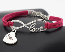 1pc Infinity Love Mom Bracelet Charm Anklet Heart Mothers Day Gift Jewelry Pink