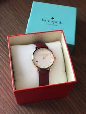 Kate Spade New York Women's Merlot Leather And Goldtone Metro Watch