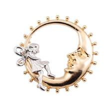 CG2602...GOLD & SILVER CRESCENT MOON BROOCH  - FREE UK P&P