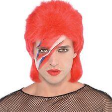 Wig Stardust Red Mullet - Fancy Dress Bowie Star Accessory Rock Adult 1970s
