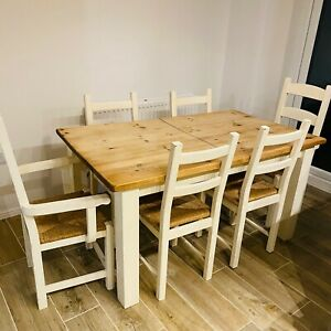 Solid Wood Rustic Farmhouse Style Extendable Dining Table and Six Wooden Chairs